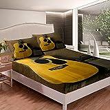 Juego de sábanas de radio de guitarra para niños y niñas, instrumentos de guitarra sábana bajera ultra suave cama tamaño individual