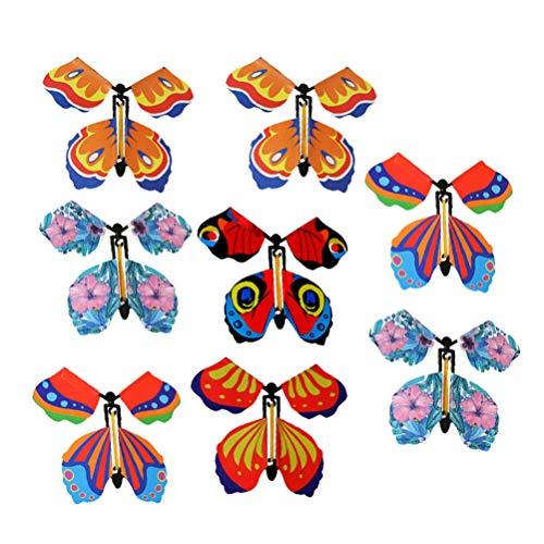 Milisten 8 magische fliegende Schmetterlinge zum Aufziehen, Spielzeug für Hochzeit, Party, Geschenk, zufällige Farbe Stil 1