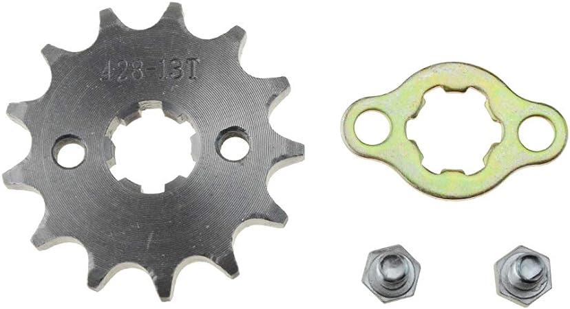 WOOSTAR Rueda delantera 428-13T de 17 mm para moto 50 cc, 70 cc, 90 cc, 110 cc, 125 cc, mini bicicleta ATV 4 ruedas
