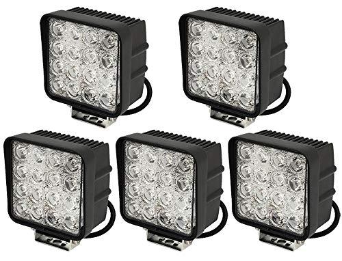 Leetop 5X 48W LED Faro de Trabajo Luz Faro Coche Moto Luces Antiniebla Blanca Lámpara