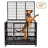 Sliverylake 3XL 48' Dog Cage Crate Kennel - Heavy Duty Double Door Pet Cage w/Metal Tray Wheels Exercise Playpen (48', Black)