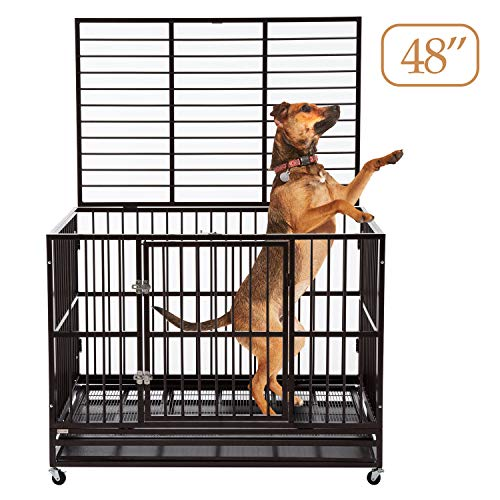 """Sliverylake 3XL 48"""" Dog Cage Crate Kennel - Indestructible Heavy Duty Double Door Pet Cage w/Metal Tray Wheels Exercise Playpen (48"""", Brown) Basic Crates Dog Food Supplies Top"""