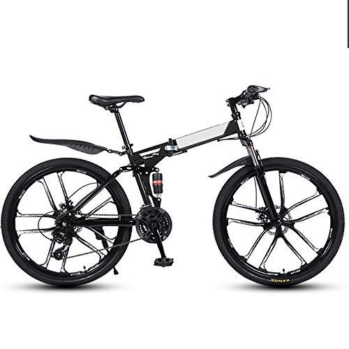 Bicicleta Plegable 26 Pulgadas 24 Velocidades Bike Portátil Ligero Bicicleta Doble Assorción di Impactos Plegado Rápido Bicicleta Urbana Para IR A La Escuela Trabaja Rapido,Negro