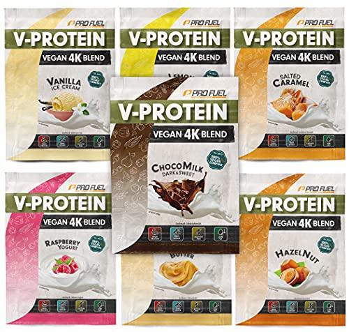 Vegan Proteinpulver Proben-Paket, 7x30g Mix-Pack mit Schokolade, Vanille, Zitrone, Himbeere, Haselnuss, Erdnussbutter & Karamell – unglaublich lecker & cremig, 74-81% Protein-Gehalt V-PROTEIN 4K Probe