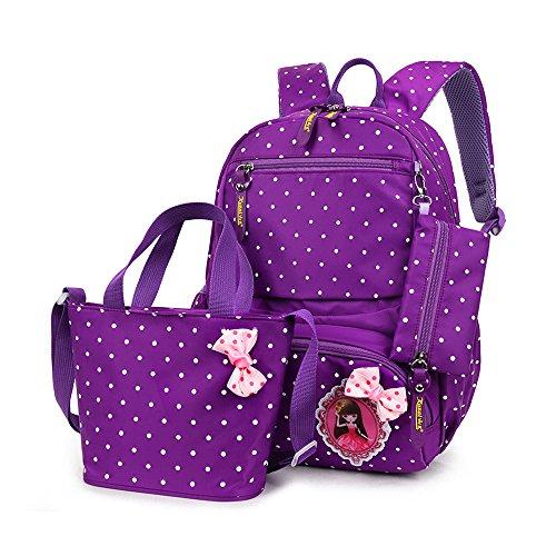 MCUILEE Set von 3 Mädchen Niedliche Polka Punkt BuchTasche/Schultaschen/Rucksäcke/Schulrucksäcke/Kinderbuchtasche Mädchen Teenager + Handtasche + Federmäppchen,violett