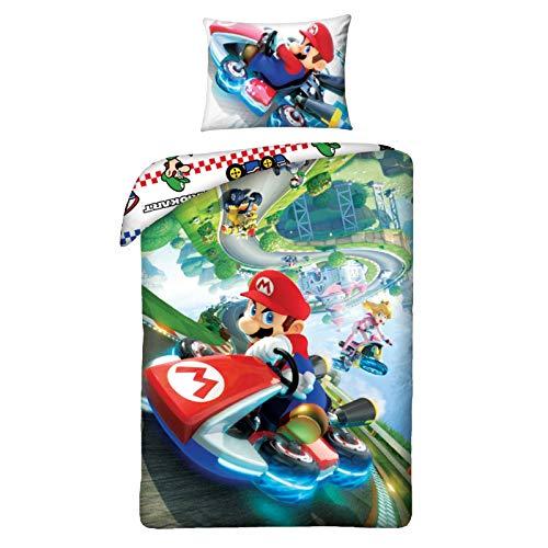 Halantex Parure de lit Super Mario Bros 140 x 200 cm + 70 x 90 cm Housse de Couette 100% Coton