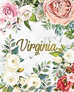 Virginia: 2020 One Year Weekly and Monthly Planner, Agenda and Organizer | To-Do's, Inspirational Quotes, Vision Boards, Notes | Nifty Marble and Tropical Floral Name Gift for Girls and Women