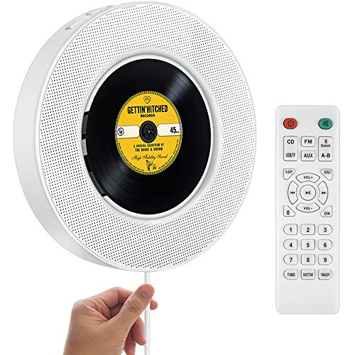 2021 Upgraded Portable CD Player with Bluetooth, FM Radio, Wall Mountable CD Music Player with IR Remote Control, Built-in HiFi Speakers, Support CD, USB, TF, AUX Input, Ideal for Gift and Home Decor