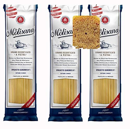 La Molisana Spaghetti Quadrato No.1 Italian Square Dried Pasta 1.5kg (3 x 500g Packs)