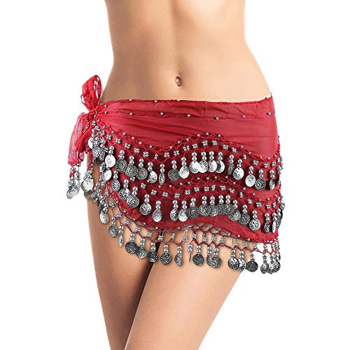 Plus Size Belly Dancing Hip Scarf - Red with Silver Coins