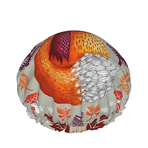 Bosque Lindo Fox Rosa Manzanilla Pintura al óleo Microfibra Adulto Doble Capas Casquillo de Ducha Reutilizable