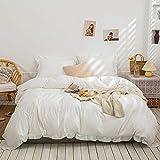 White Bedding Offwhite Ruffle Duvet Cover Set Solid Ruffled Fringe Design Soft White Bedding Sets Queen 1 Ruffled Duvet Cover 2 Pillow Shams (Queen, White)