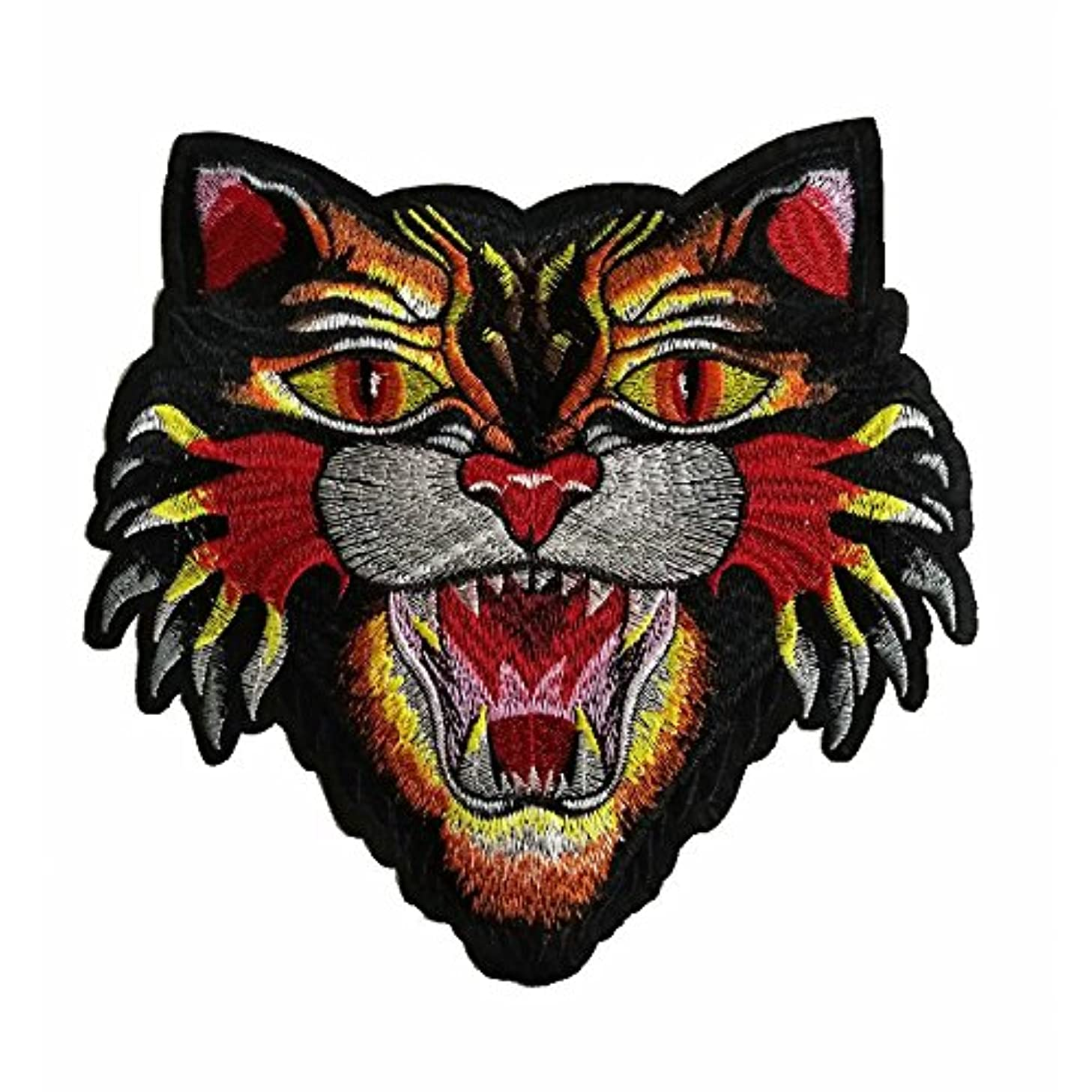 1pcs Cat Embroidered Badge Iron On Sew On Patch(21X21cm) (Hot Cat)