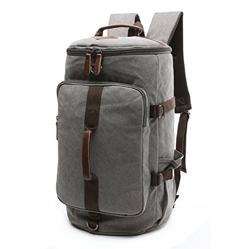 BAOSHA Canvas Weekender Travel Duffel Backpack Hybrid Hiking Rucksack Laptop Backpack for Outdoor Sports Gym HB-26(Grey)