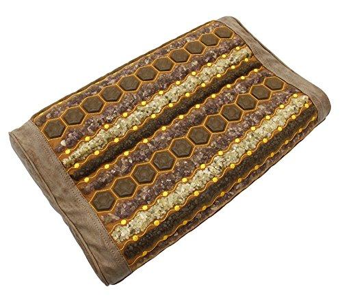 "Far Infrared Gemstone Pillow - Amethyst - Jade - Tourmaline - Natural Crystals - Negative Ions - FIR Heat - Non Electric - for Hot Stone Heating Pads - Better Sleep (20' L x 12' W x 4""H Gentle, Tan)"