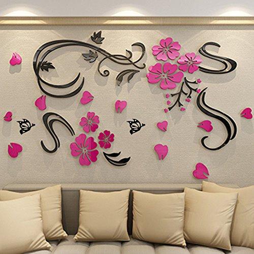 AungAoo Fleur Vine Tridimensionnelles 3D Stickers Chambre Canapé Acrylique Plat Mur À L'Arrière-Plan Stickers Décoratifs,Branches Noir Rose Rouge, En Haut À Droite,Super Petit
