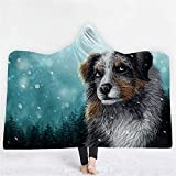 TREEECFCST Batamanta Manta con Capucha Mantas para Sofa Grandes Manta de Tiro de Franela de Microfibra con Estampado de Perros del Bosque Manta de Lana cálida y esponjosa Suave 914(Size:130x150cm)