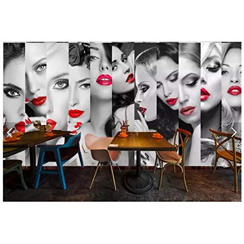 Salón de belleza Labios rojos Belleza Mosaico Mural Tienda de ropa 3D Fondo de sala de estar Pared Dormitorio Restaurante Papel tapiz