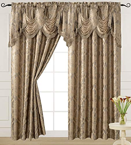 V Luxury Jacquard Curtain Panel with Attached Waterfall Valance, 54 by 84-Inch Ashley Light Taupe