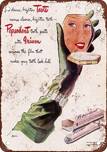 metalsigns 1945 Pepsodent Zahnpasta Vintage Look Reproduktion Metall Blechschild 30,5 x 45,7 cm