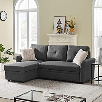 Convertible Sectiona Sleeper Sofa Bed 83 Inch L-Shape Sofa Couch with Storage 3-Seater Corner Sofa Bed for Lving Room Apartment - Grey