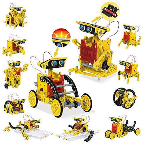 HOMOFY STEM Spielzeugen Solarroboter Kit 12 in-1-Sets Wissenschaft Lernwissenschaftliches Bauspielzeug von Solar DIY konstruktionsspielzeug Robot Wissenschaft Kits für 8 9 10 11 12-jährige Kinder