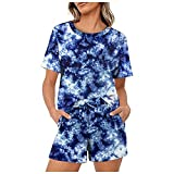 Women's Tie-Dye Set Yoga Outfits 2 Piece Casual Short Sleeve T Shirts Fitness Shorts for Gym Workout