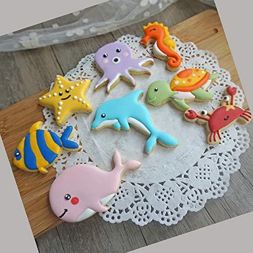 Tangker Set of 8 Ocean Animals Cookies Mold DIY Handmade Biscuit Chocolate Baking Mould Bakeware Fondant Cake Decorating Tools