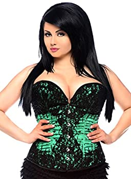 Daisy Corsets Women s Top Drawer Steel Boned Beaded and Lace Corset Green 6X