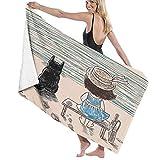 Grande Suave Ligero Toalla de Baño Manta,Niña con Sombrero de Panamá Sentado en un Banco con Mullido Gato Junto al mar,Hoja de Baño Toalla de Playa por la Familia Viaje Nadando Deportes,52' x 32'