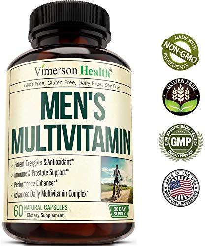 Men's Daily Multimineral Multivitamin Supplement. Vitamins A C E D B1 B2 B3 B5 B6 B12. Magnesium, Biotin, Spirulina, Zinc. Antioxidant Properties, Immune Health. 60 Capsules 3