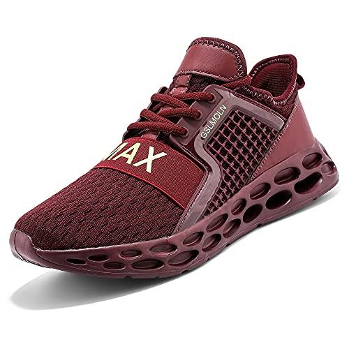 Jakcuz Zapatillas de correr para hombre y mujer, zapatillas de deporte, para correr, para el tiempo libre, senderismo, trailrunning y fitness., granate, 40 EU