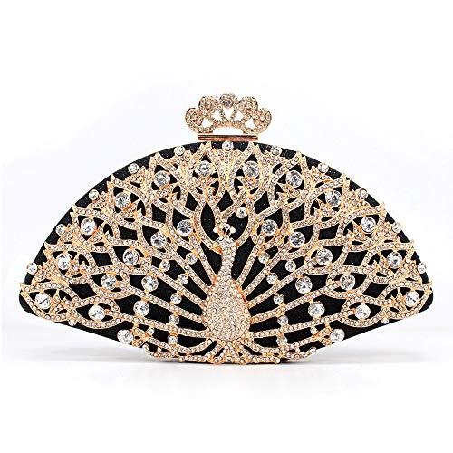 Ai-yixi Bolso de noche para mujer, diseño clásico, aleación dorada, cristal, bolsa de noche, bolso de mano de mano para mujer, boda, boda, fiesta, perfecto salvaje (color: negro, tamaño: A)