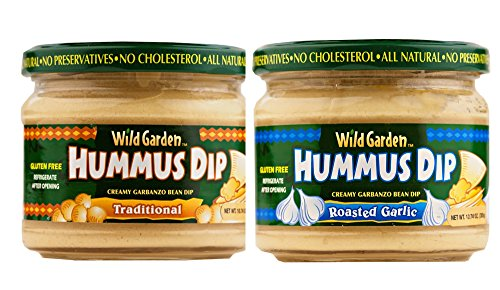All Natural Hummus Dip Assortment, 2 - 10.74 Oz Jar Pack (Traditional & Roasted Garlic)