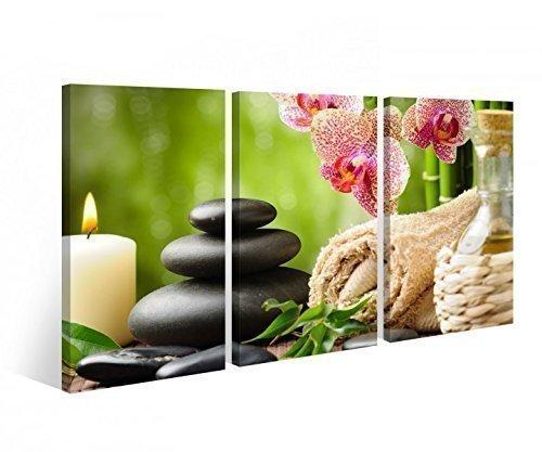 myDruck-Store Stampa su Tela Wellness Feng Shui Fiore Orchidee Pietra Candela 3 Parti 9B251-90x60cm (3 Pezzi 30x 60 cm)