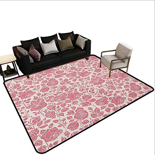 MsShe Slaapkamer tapijt Koraal, Geruit Patroon met Oud Symbool van Fleur De Lis Koninklijke Franse Lelie Bloem, Koraal Baby Roze