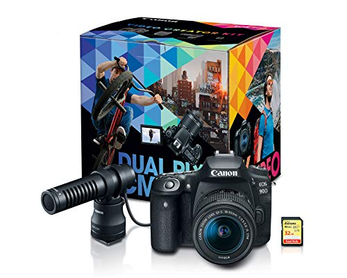 Canon DSLR Camera [EOS 90D] | Vlogging Video Creator Kit with Stereo Microphone DM-E100, 32GB SDHC Memory Card and Windscreen Accessory for Outdoor Recording