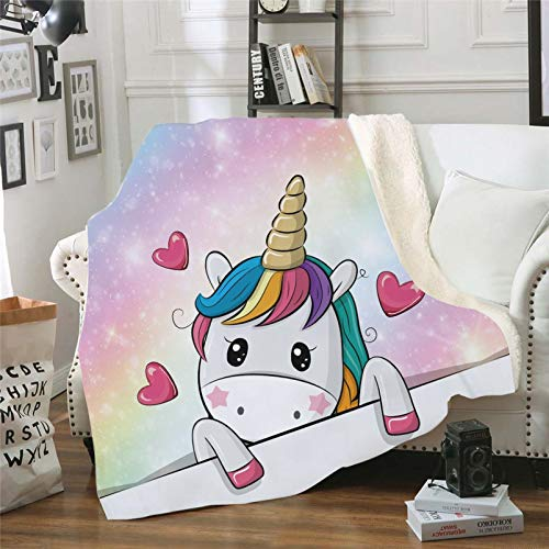 WOEJGO - Manta de unicornio, mantas y mantas para niñas, regalo de cumpleaños, manta de viaje, cálida y suave para sofá, cama, sillón (7,150 x 130 cm)