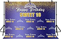 HD 7x5ft Sweet 16 Background for Girls Birthday Party Happy Birthday Backgrounds for Princess Party Photography Backgrounds for Photo Studio Booth Props BJLSLY119