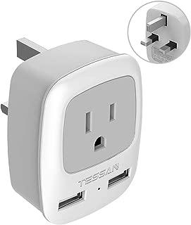 UK Ireland Hong Kong Power Adapter, TESSAN International Travel Plug with 2 USB, Outlet Adaptor for USA to British England Scotland Irish London (Type G)