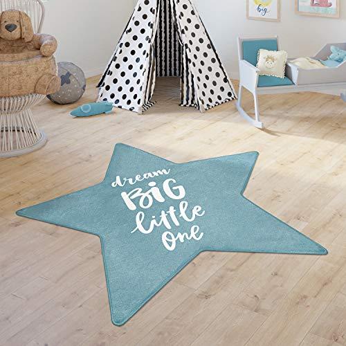 Paco Home Alfombra Infantil Chicas Chicos Cuarto Infantil Estrellas Moderna Inscripción, tamaño:Forma de Estrella de 150 cm, Color:Azul