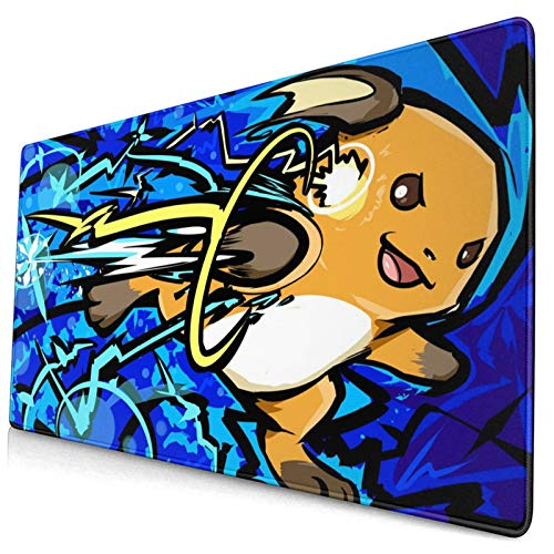 Raichu Poke Large Gaming Mouse Pads XXL Extended Mat Desk Pad Mousepad with Non-Slip Computers Laptop Office&Home 750×400×3mm (29.5×15.8×0.12 Inch)