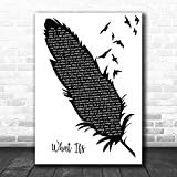GREENPRINT #Kane Brown #What IFS Black White Feather Birds Song Lyric Print Lovers Poster Wall Decor Art Gifts
