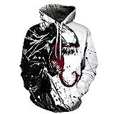 ZFQQ Unisex 3D Stampa Digitale Serie Venom Maglione Sciolto con Cappuccio Coppia Fashion Baseball Uniform