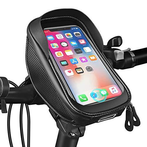 JESWO Handy Fahrradtasche, Wasserdicht Handytasche Fahrrad Lenkertasche mit TPU-Touchscreen Fingerabdrucksensor und Kopfhörerloch, Handyhalterung Fahrrad für Smartphone unter 6.5 Zoll