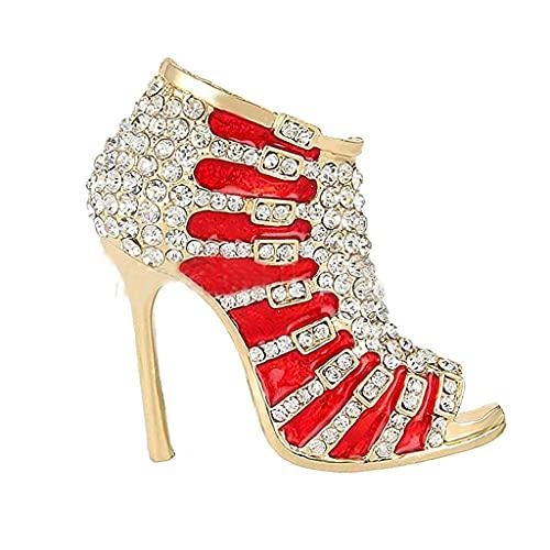 Zapatos Broche Elegante Dama Zapato de tacón alto Diamante de imitación Aleación de diamantes de imitación Broche de cristal Boda Ropa nupcial Broches Chaqueta de mezclilla Decoraciones Accesorios