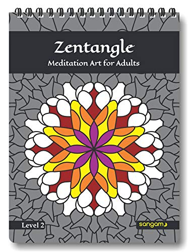 Zen Sangam Zentangle Meditation Art Coloring Book for Adults - Level 2