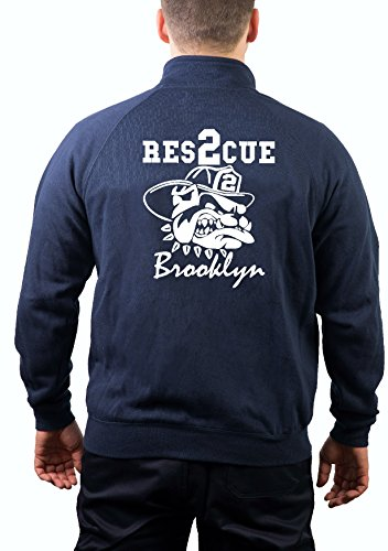 feuer1 Veste de survêtement Navy, Rescue 2 Brooklyn avec Bulldog New York City Fire Department XXL Bleu Marine