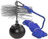 AERZETIX - Juego de deshollinador - herramientas de limpieza para desatascar chimeneas - cepillo metálico Ø250mm - cuerda Ø5mm longitud 10m - bola 2.5kg - mosquetón - C49984
