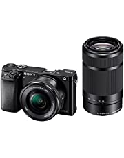 Sony Alpha ILCE 6000Y 24.3 MP Mirrorless Camera with 16-50 mm and 55-210 mm Zoom Lenses (APS-C Sensor, Fast Auto Focus, Eye AF) - Black